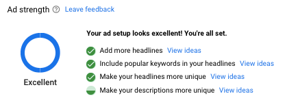 google ads ad strength